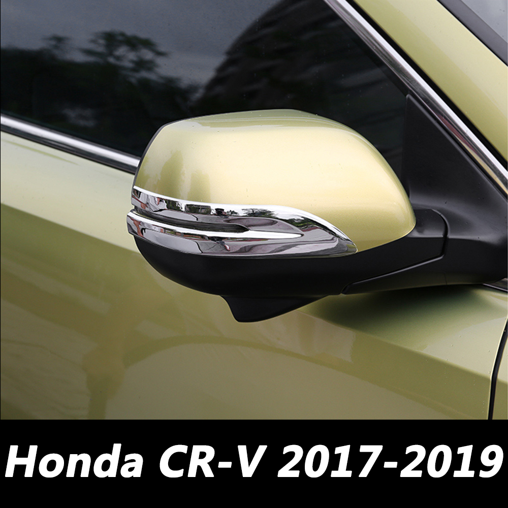 Car Rearview Mirror Side Trim Stickers For <font><b>Honda</b></font> <font><b>CRV</b></font> CR-V <font><b>5</b></font> 5th MK5 2017 <font><b>2018</b></font> 2019 Auto Silver ABS Chrome Covers Car Styling image