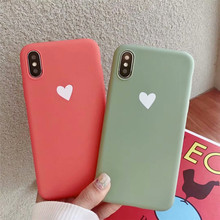 Frosting love heart back funda for iPhone 7 plus cases For Apple X XR XS MAX 8 coque 6 6s
