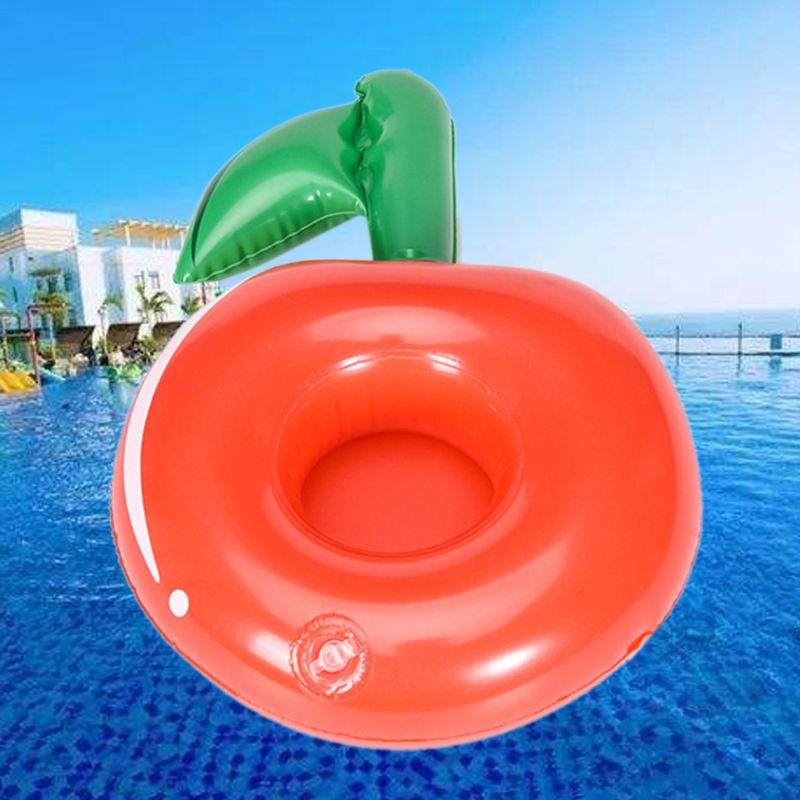 Cute Drink Bottle Seat Cherry Cup Holder Kids Water Beach Toy Floating Inflatable Coasters Q6PD