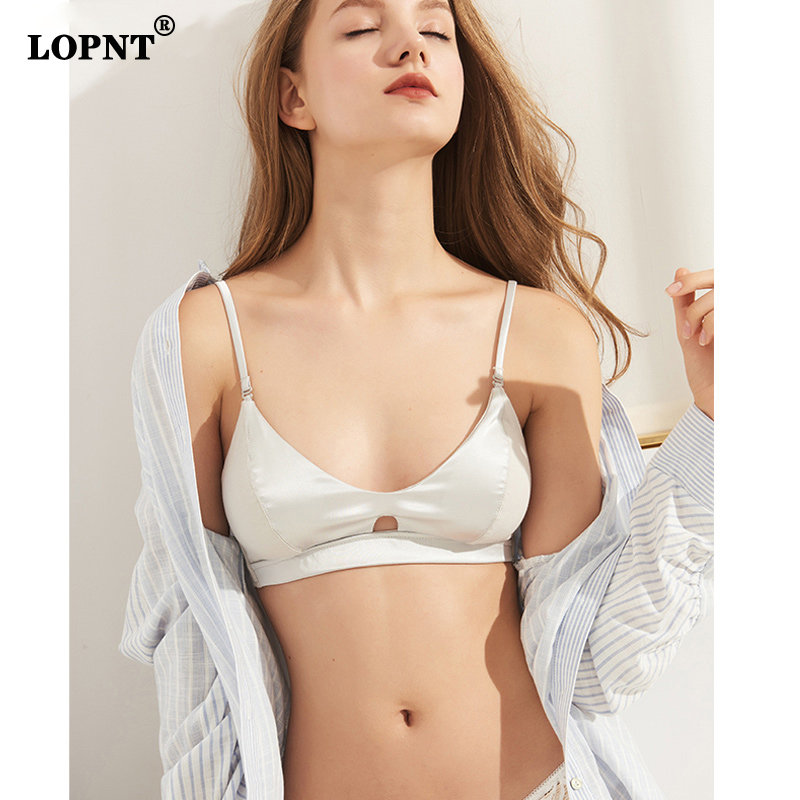 LVFAN Female Summer Silk Small Chest Seamless Underwear Thin Modal Cotton Bra Stitching Comfortable Binding Bra Back Closure Bra