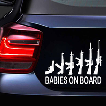 EmpireYing 16.4x13 cm Babies on Board My Gun Family Personalized Lettering Art Vinyl Decal Car Sticker Military Enthusiast Gifts
