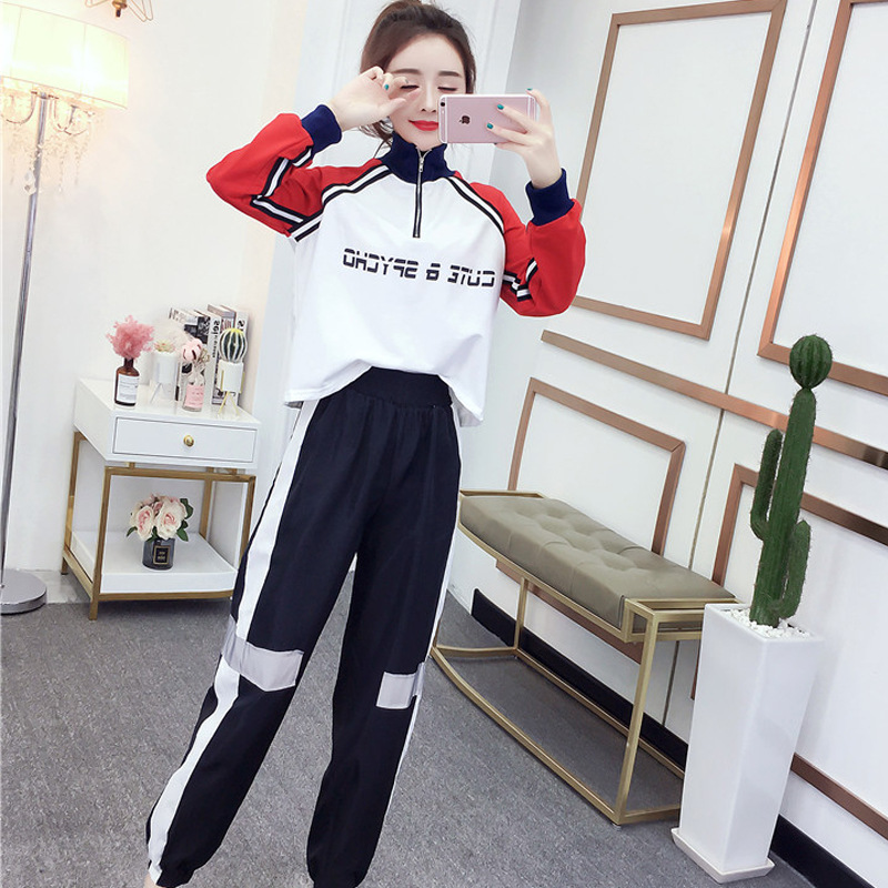 2019 Early Autumn Set Western Style Cool Loose-Fit Hoodie + Elastic Waist Casual Ankle Banded Pants Dashingly Handsome Two-Piece