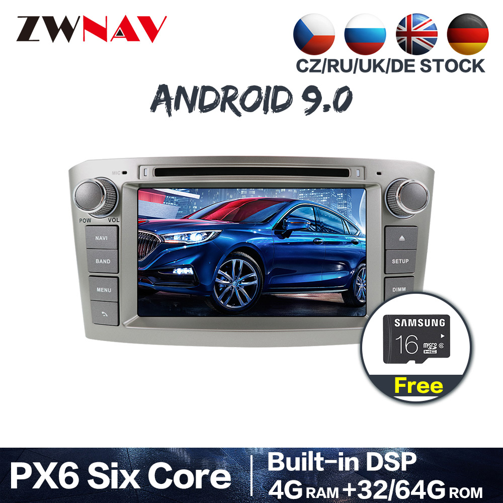 PX6 4+64 <font><b>Android</b></font> 9.0 Car Stereo DVD Player GPS Glonass Navigation for <font><b>Toyota</b></font> Avensis <font><b>T25</b></font> 2003-2008 Multimedia Radio BT head unit image