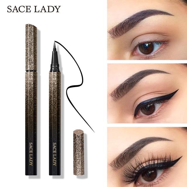 SACE LADY Black Waterproof Liquid Eyeliner Pencil Quick Dry Long Lasting Matte Eye liner Smudge-Proof Cosmetic Beauty Makeup