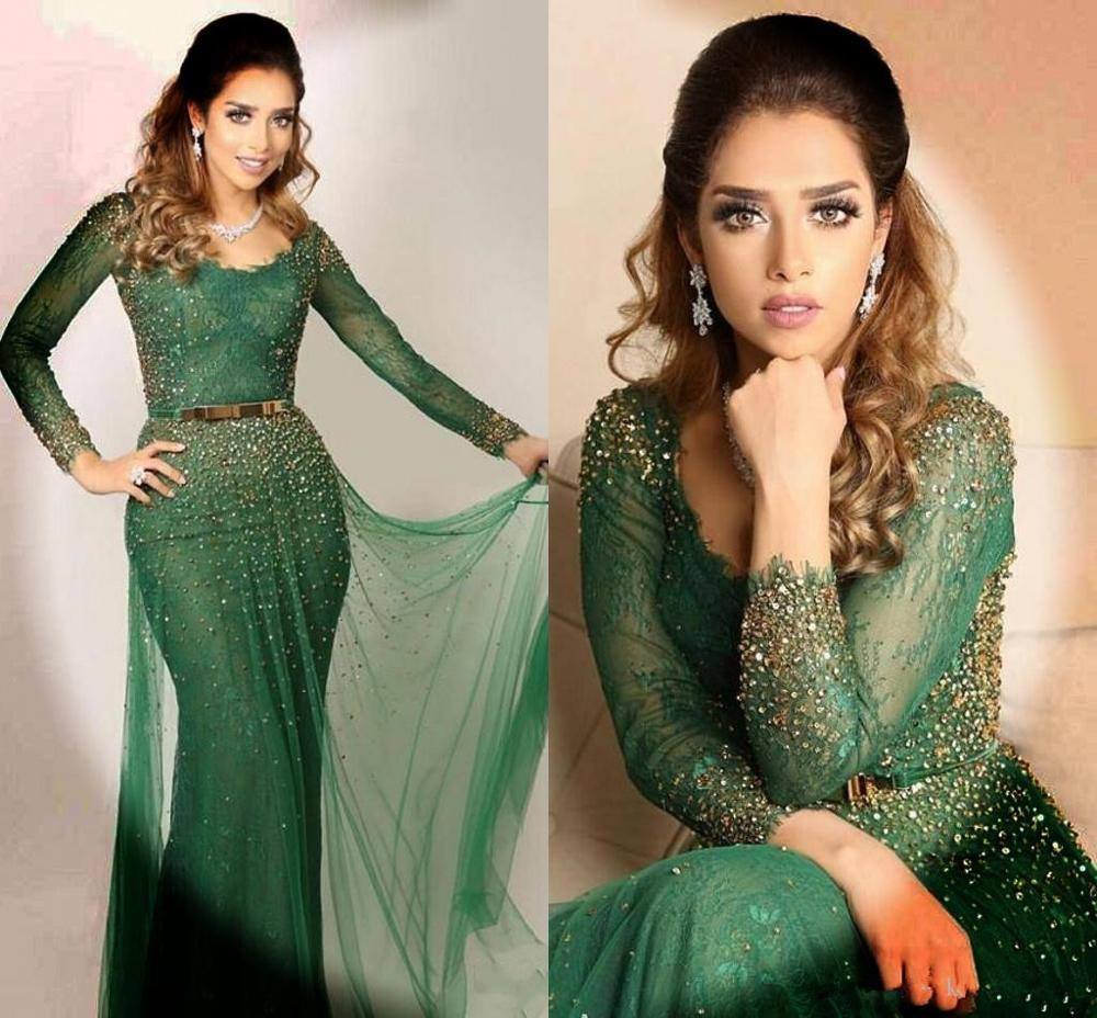 Saudi Arabic Green Evening Dresses 2020 Bateau Lace Crystal Beaded Sheer Long Sleeves Prom Dress Mermaid Evening Gowns