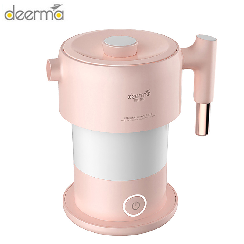 Original Deerma 0.6L Folding Electric Kettle Mini Portable Automatic Power-Off Instant Heating Food-Grade Stainless Steel Kettle