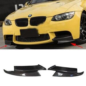 Carbon Fiber Car Front lip Splitters Flap Aprons For BMW 3 Series E90 E92 E93 M3 2008-2014 Bumper Guard Car Styling