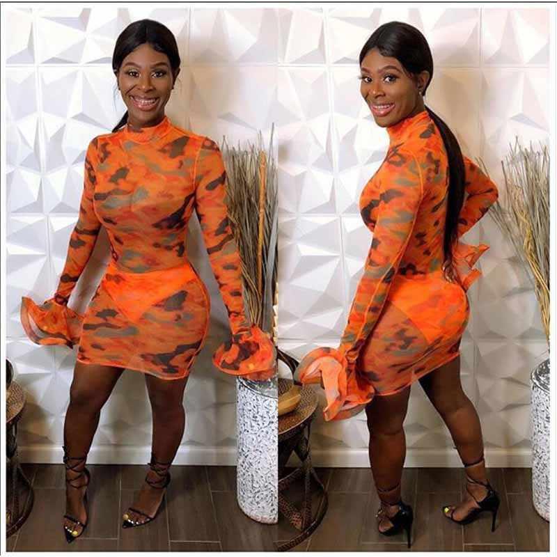 ANJAMANOR עניבה לצבוע Sheer Mesh שמלת נשים סקסי מועדון שמלות 2020 לראות דרך לפרוע ארוך שרוול מיני Bodycon שמלת D37-CH18