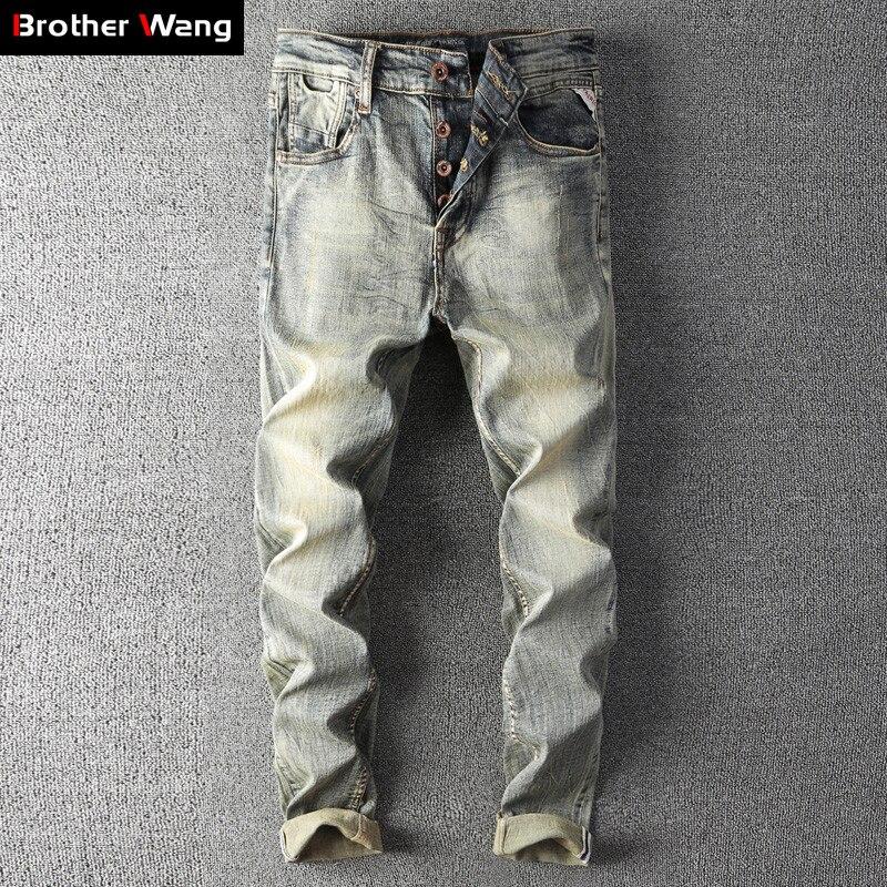 2019 Autumn Winter New Men's Retro Jeans High Quality Fashion Cotton Slim Fit Stretch Denim Trousers Male Brand Pants