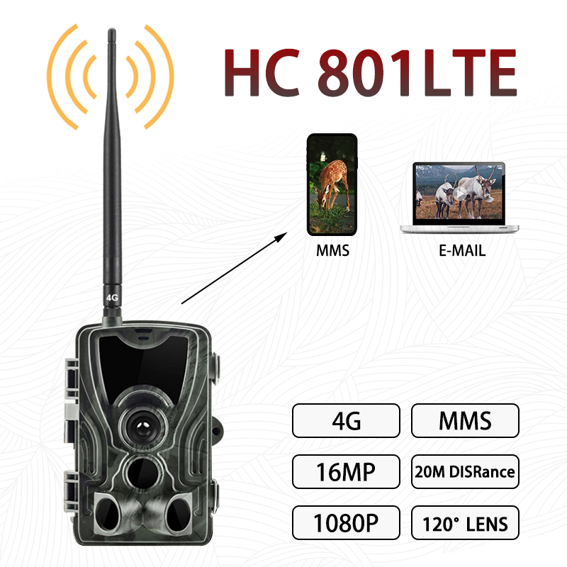 Hunting Camera 4g Trail Cameras HC-801A 16MP 1080P Photo Trap 0.3s Trigger Wild Wildlife Infrared Camera Chasse Scout Dropship