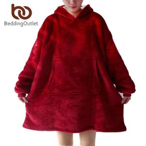 BeddingOutlet Sherpa Fleece Blanket With Sleeves Hoodie Blanket Soft Warm Plush Winter Hooded Blanket for Adults Outdoor