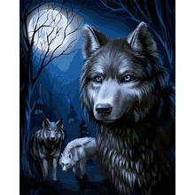 Diy Frame Animal Three Wolves Pictures By Numbers Oil Painting On Canvas Handmade Wall Pictures For Living Room