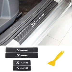 Image 1 - 4PCS רכב דלת אדן מדבקות עבור פורד s max פחמן Fibe אנטי שריטה אוטומטי דלת הגנת סרט מדבקות אביזרי רכב סטיילינג