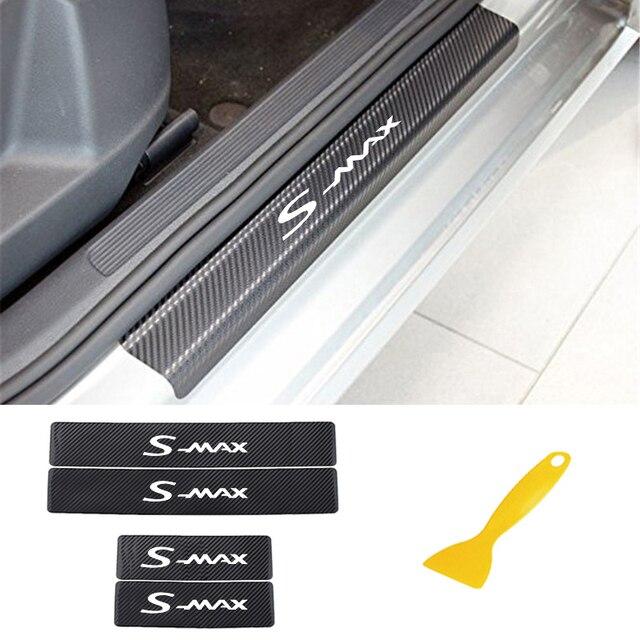 Pegatinas para umbral de puerta de coche, para FORD s max, fibra de carbono, antiarañazos, película de protección de puerta automática, adhesivos, accesorios de coche, estilo, 4 Uds.