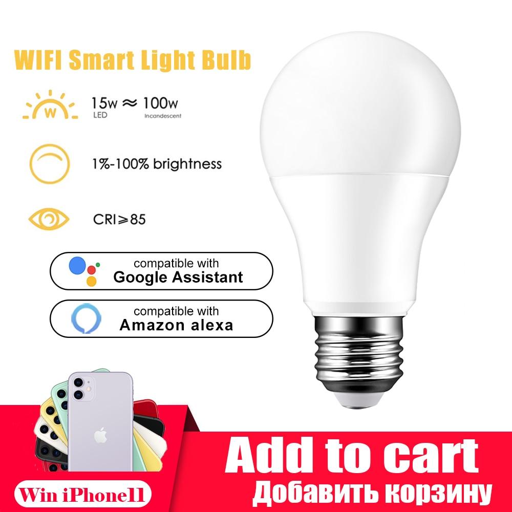 Lâmpada led inteligente e27/e14/b22, lâmpada regulável, 15 w, com aplicativo de controle inteligente, funciona com alexa lâmpadas de led assistente google para casa