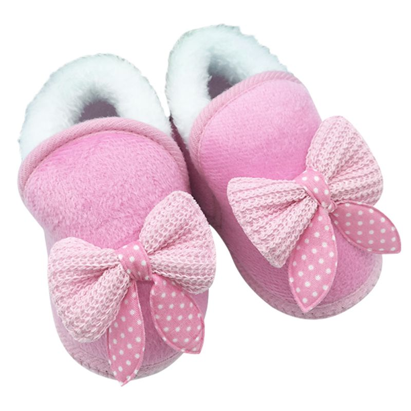 Baby Shoes Girls Boots Winter Wool Bowknot Snow Boots First Walker Shoes For Newborn Infant Soft Sole Non-Slip Boots