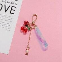 2019 Creative Crystal Cherry Key chain Cute Cartoon love Ribbon Keychains Women Bag Car Fashion Gift KeyRing Pendant
