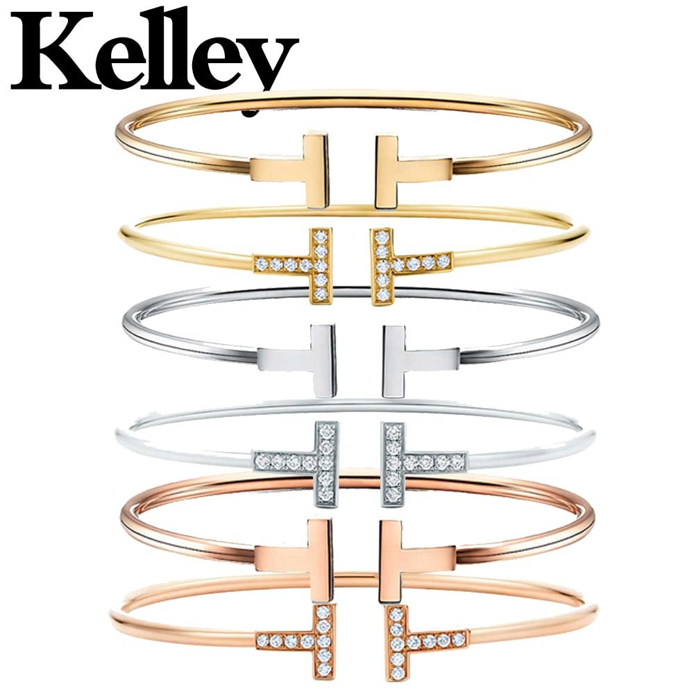 Kelley Original Tiff 925 Sterling Silver Bracelet Gold Double T Shape Ladies Jewelry