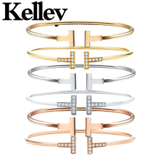 Kelley high quality original Tiff 925 sterling silver bracelet gold double T shape brand design ladies fashion luxury jewelry