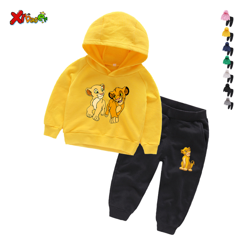 Toddler Clothing Set Kids Cotton Clothes Set Cartoon The Lion King Guard Sets Children Big Boy Girls Sports Tracksuits Suits 9T