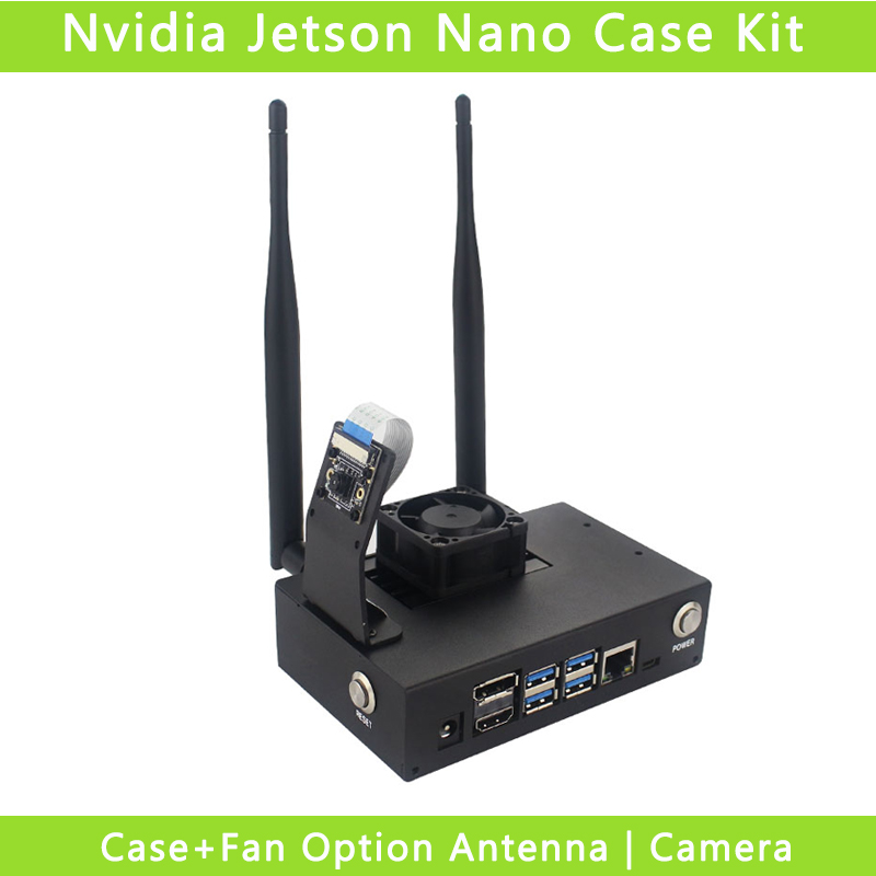 Nvidia Jetson Nano Case Metal Box Power Reset Switch Enslosure Shell With Cooling Fan Compatible Camera Antennas GPIO Board