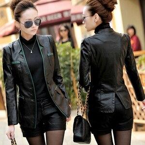 Женская тонкая кожаная куртка, Корейская версия, весна и осень, большой размер, средней длины