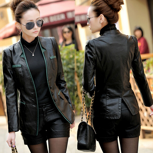 spring and autumn new PU   leather   ladies large size medium long Korean version of the slim   leather   jacket jacket   leather   jacket