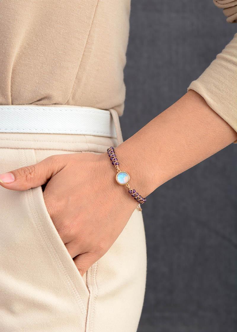 Stone Wrap Bracelets Femme Amethysts Opal String Braided Yoga Friendship Bracelet Bangle Bohemian Jewellery
