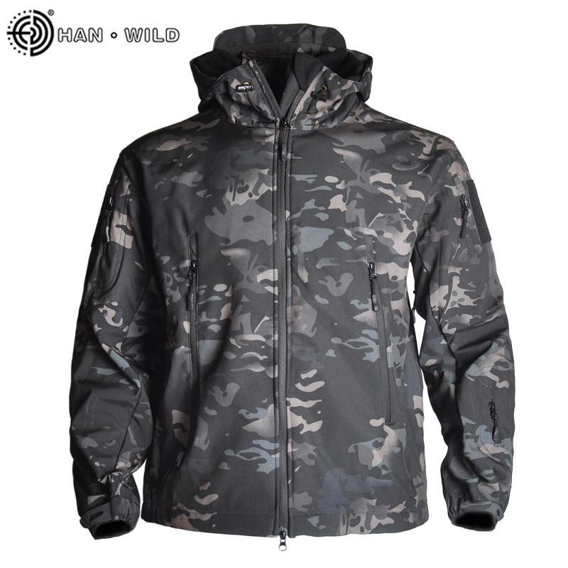 Мужская Флисовая Куртка HAN WILD, камуфляжная тактическая куртка Мультикам, камуфляжная ветровка