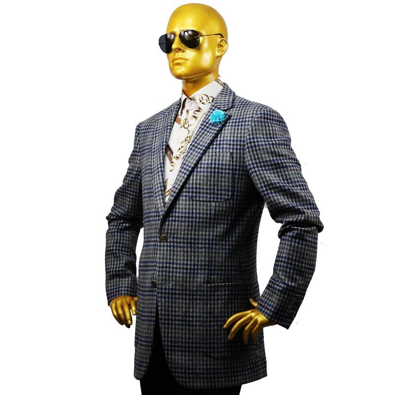 Custom Tailor Made Men's Bespoke Suits Business Formal Wedding Ware Bespoke 2 Piece Jacket Coat Pant Grey Plaid Tweed Wool