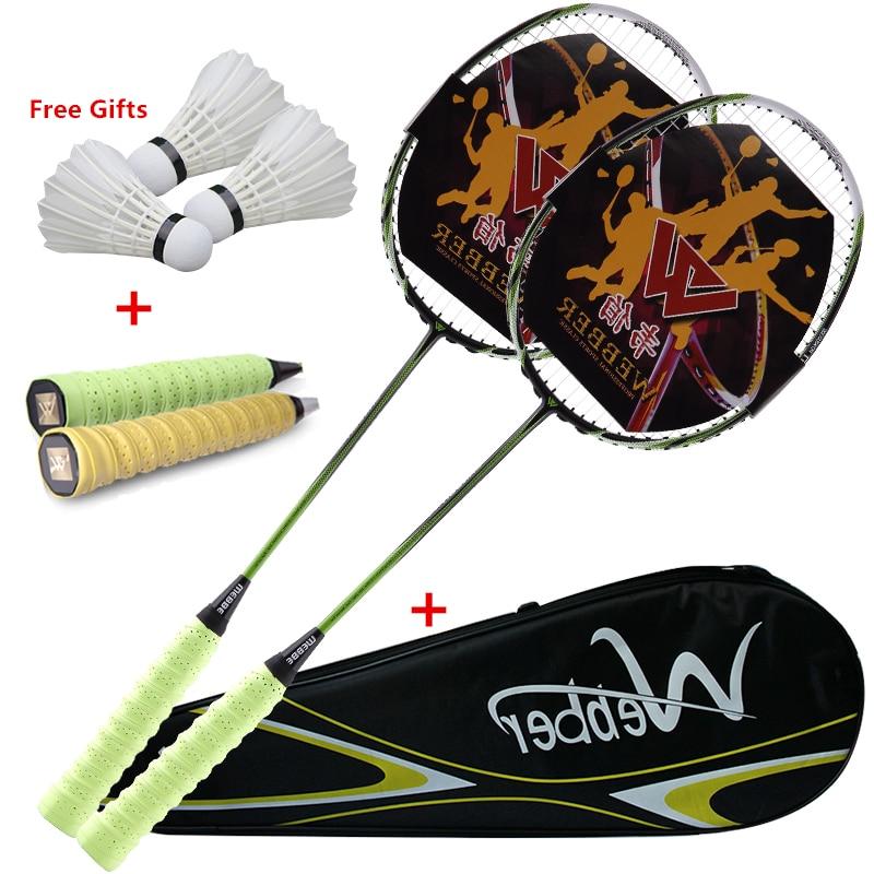 Professional  Ultra Light Carbon Badminton Racquets  Elastic&Durable Racket  For  18-24 Lbs Low/Medium Pound Amateur Junior
