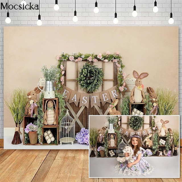 Mocsick Spring Easter Garden Photography Backdrops Bunny Flowers Decorations Children Photo Booth Background For Photo Studio