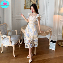 2019 summer new womens Korean embroidery stitching barcode lace dress Sleeveless  Sheath Office Lady Knee-Length