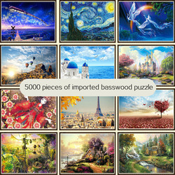 High difficulty large adult educational toy decompression 5000 wooden puzzles decompression world famous painting landscape