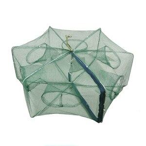 Image 4 - Automático dobrado rede de pesca 6 16 furos armadilha para furos de peixe fundido dobrável reforçado rede de pesca de lagostins