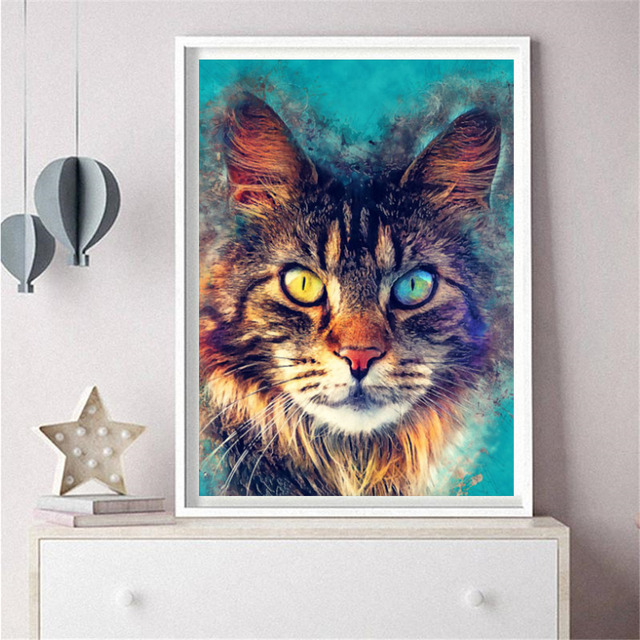 HUACAN Diamond Mosaic Cat 5d Diamond Painting Full Square Diamond Embroidery Sale Rhinestone Picture Home Decorations