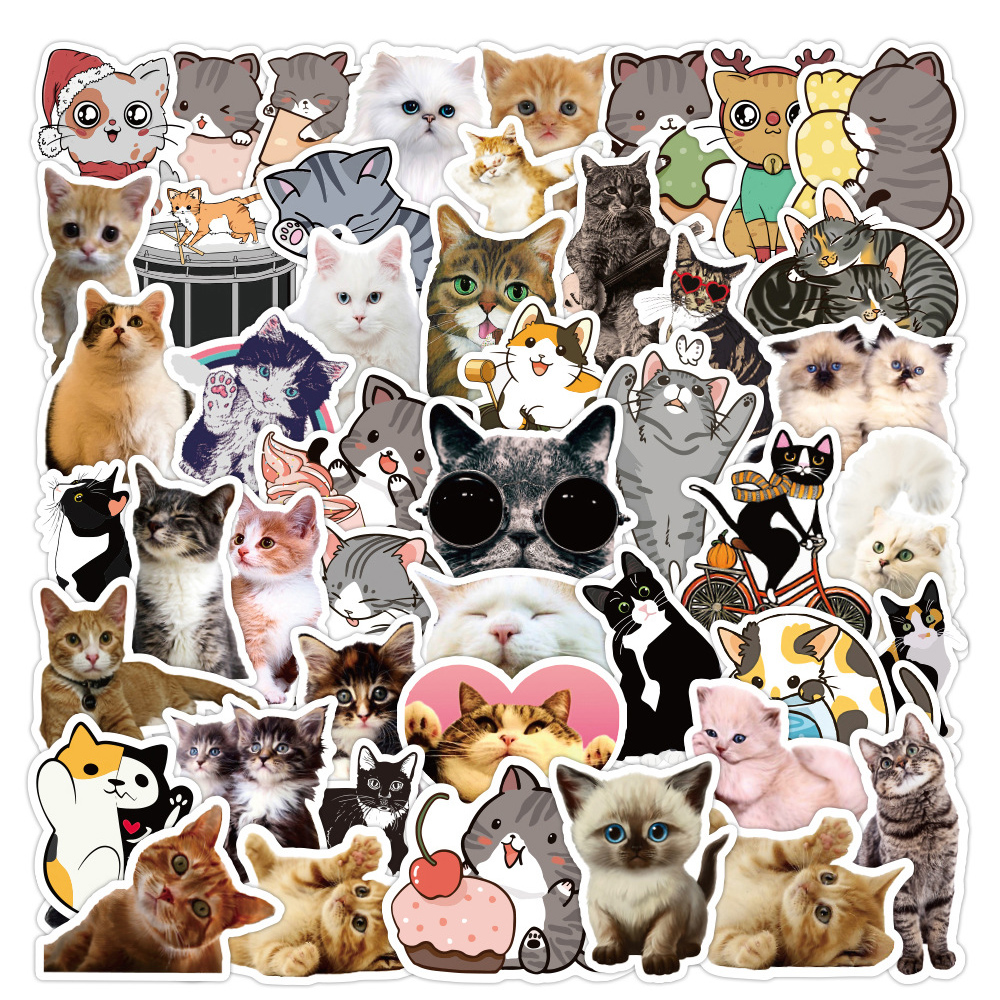 50PCS New Kawaii Cat Stickers Decal For Girl Cute Cartoons Animal Sticker to DIY Suitcase Stationery Fridge Water Bottle Guitar