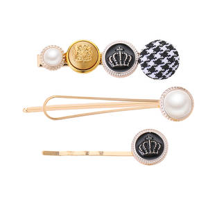 Hairpin-Combination Hair-Accessories Crown Small European New Houndstooth 3PCS Fragrance