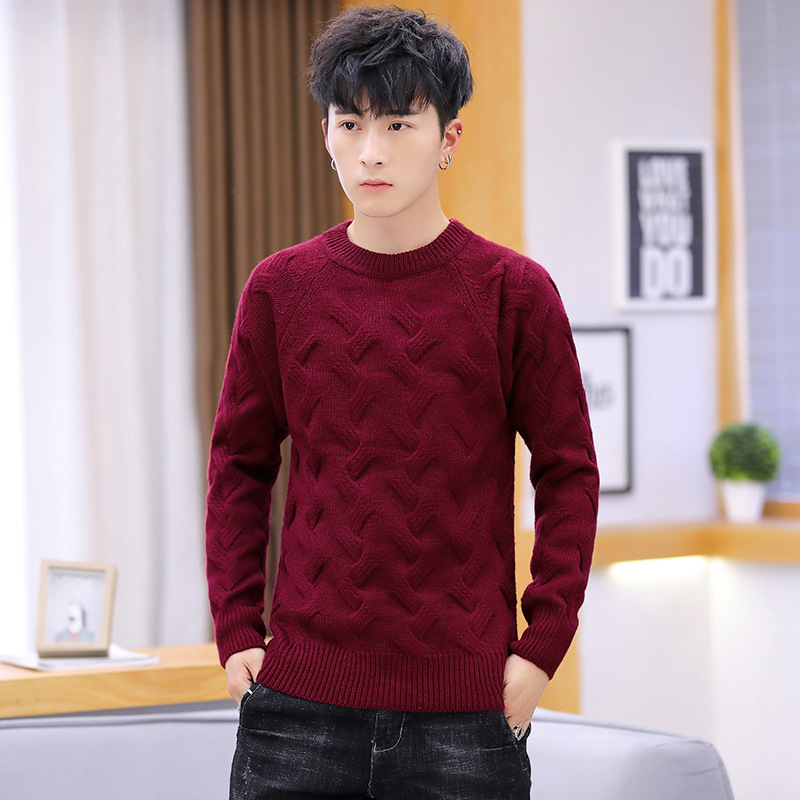 Sweater Men O-Neck Casual Warm Sweater Plaid Long Sleeve Pullovers White Black Red Gray Brown Sweaters M L XL 2XL 3XL