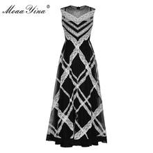 MoaaYina Fashion Designer Runway dress Spring Summer Women Dress Sleeveless Stripe Lace Mesh Elegant Dresses