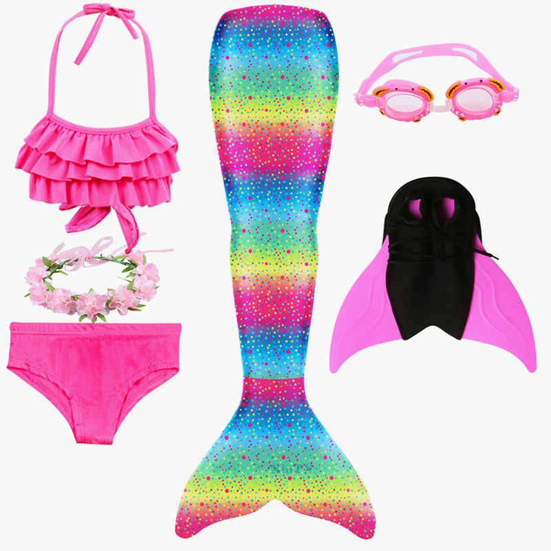 Della Ragazza Mermaid Tails per Costume da Bagno con Monofin Flipper per I Bambini di Estate Del Vestito Del Bikini Balneabile Vestito Della Sirena Costume