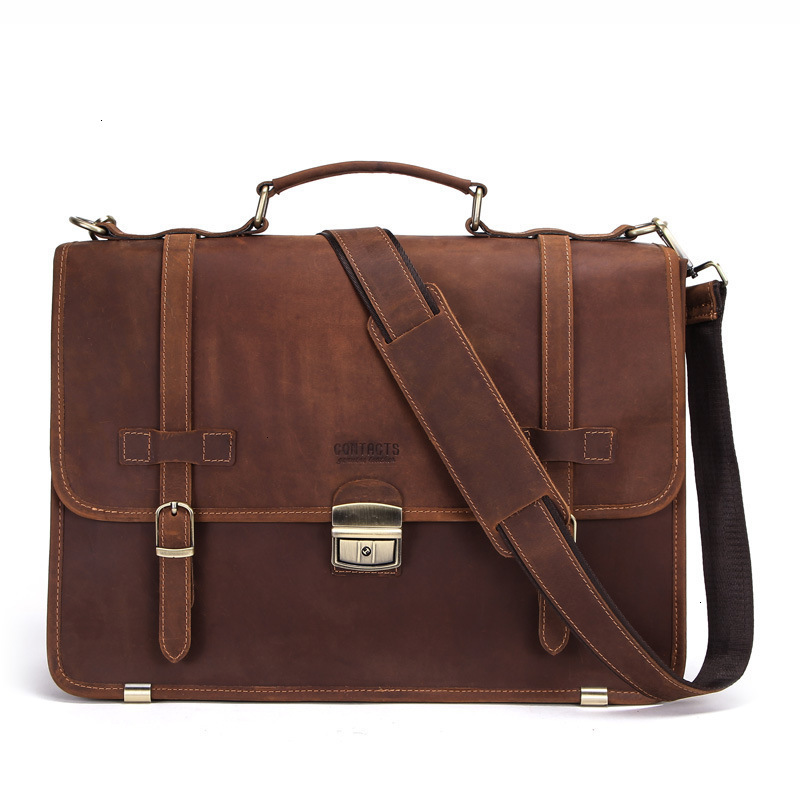 2020 Genuine Leather Mens Laptop Messenger Bags Man Business Affairs Briefcase Inch Portable Computer Package Designer Hot Sale