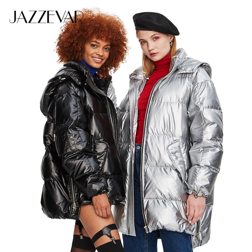 JAZZEVAR 2019 Inverno Nova Moda de Rua Mulheres Edgy Sliver Longo Down Jacket Fresco Meninas Zipper Com Capuz Para Baixo Casaco Outerwear z18004