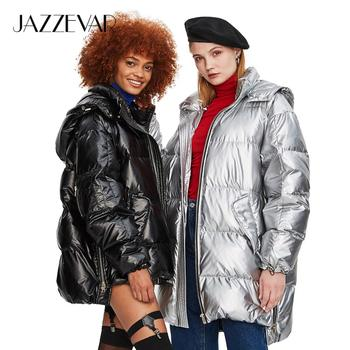 JAZZEVAR 2019 Winter New Fashion Street Womens Edgy Sliver Long Down Jacket Cool Girls Zipper Hooded Down Coat Outerwear z18004