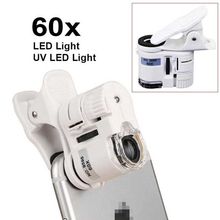 60X Magnifier LED Lighted Microscope Portable Camera Cell Phone Universal Clip Loupe