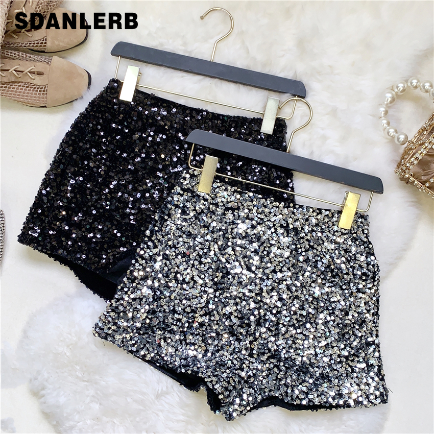 2020 Spring Boots Shorts Woman Heavy Industry Sequined Shorts Women's Sliver Shirts Female