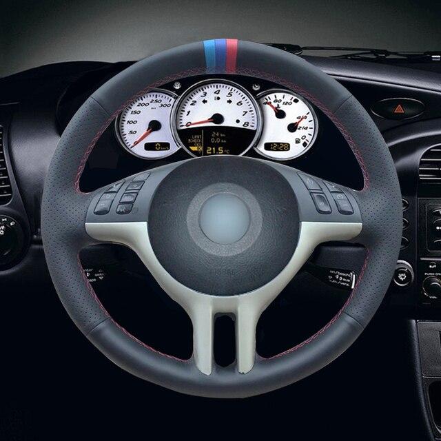 שחור מלאכותי עור רכב הגה כיסוי עבור BMW E39 E46 325i E53 X5
