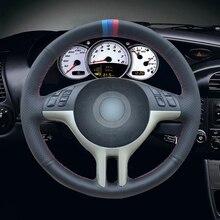 Schwarz Künstliche Leder Auto Lenkrad Abdeckung für BMW E39 E46 325i E53 X5