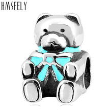 HMSFELY 316l Stainless Steel Lovely Bear Beads European Charm For DIY Charms Bracelet Jewelry making Accessories Bead 4pcs