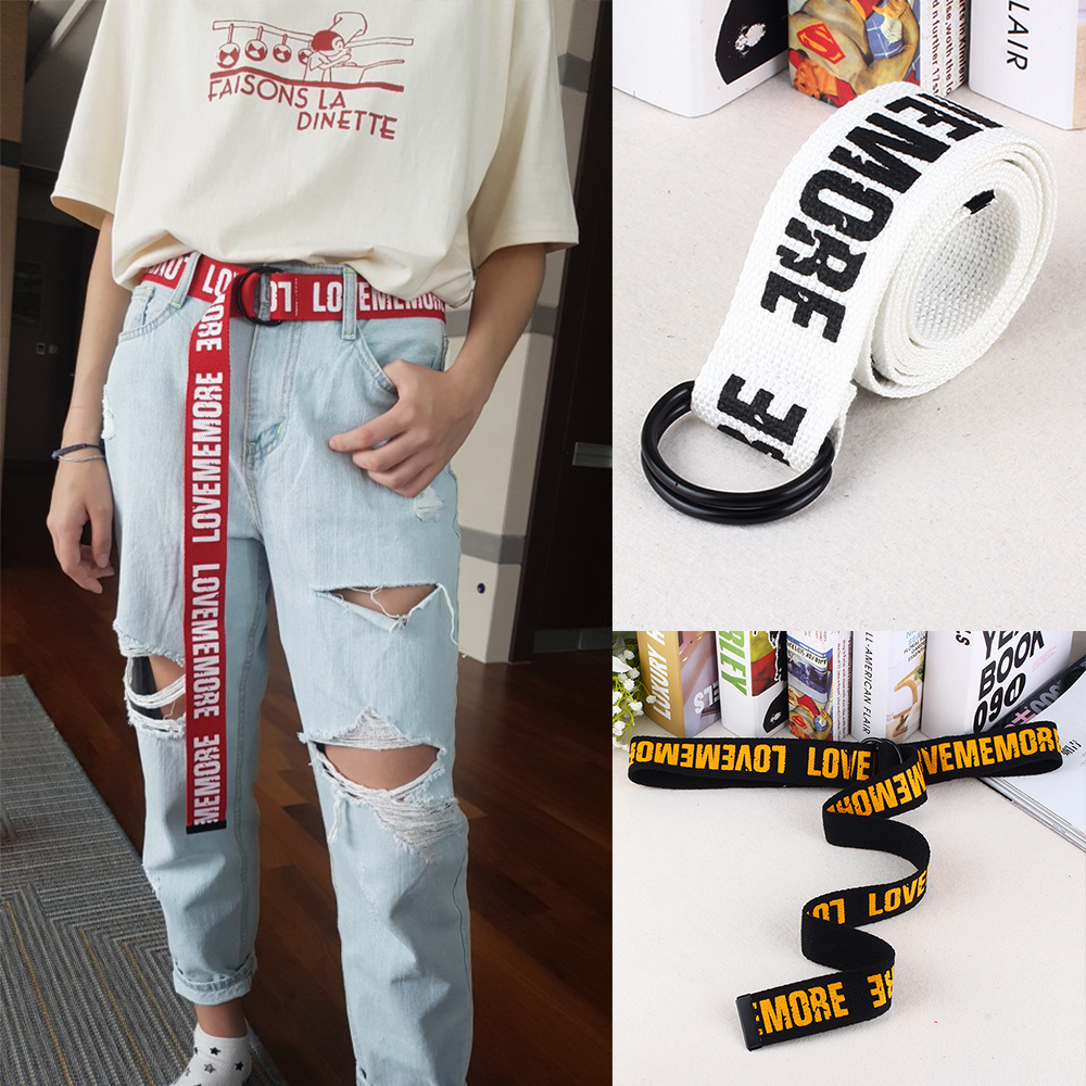 Women Harajuku Belt Red Letter Printed Fashion Unisex Double D Ring Canvas Strap Female Long Belts For Jeans Love Me More